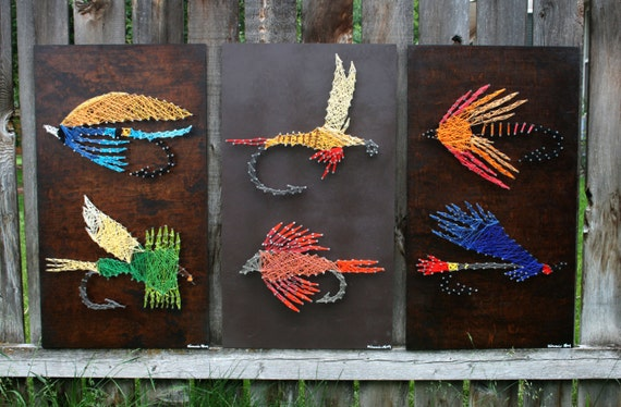 Fly fishing string arts colorful flies string nail for Fish string art