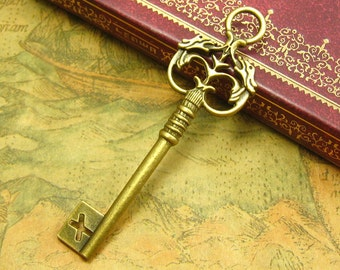 10 pcs Antique Bronze Key Charms 70x21mm CH1841