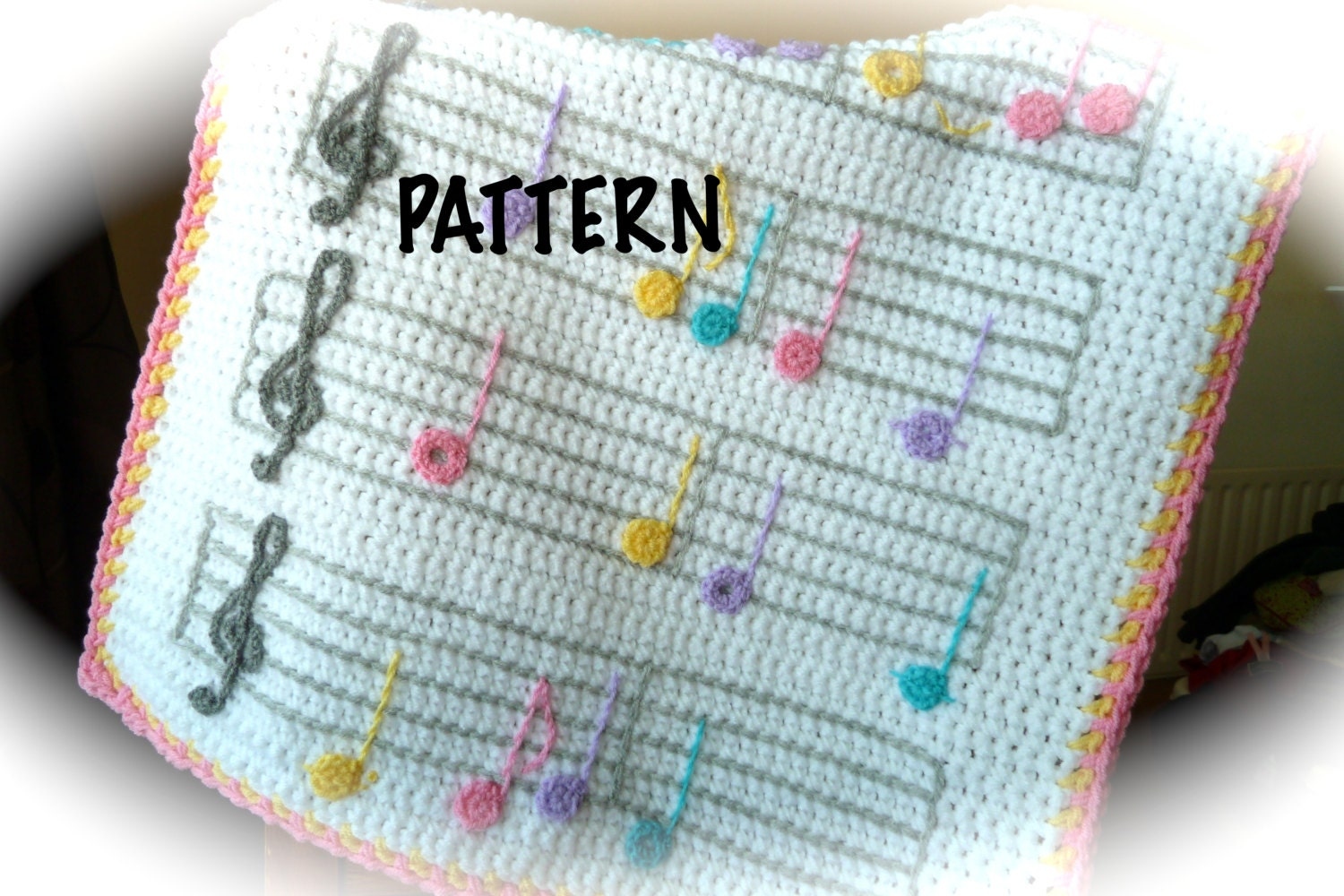 Free Crochet Patterns For Music Notes : PATTERN Musical Crochet Blanket Pattern