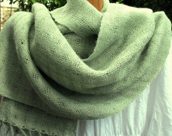 Mint Green Baby Alpaca Handwoven Lacy Shawl Scarf