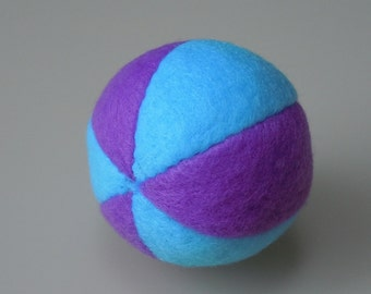 Catnip Fleece Ball Cat Toy Purple and Bright Blue