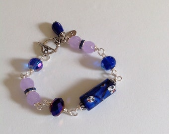 Blue crystals and opal blue beads with Venetian glass focal beaded bracelet, Blue beaded bracelet, just reduced price