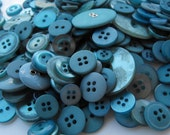 Deep Sea Blue Buttons, 100 Bulk Assorted Round Multi Size Sewing Crafting Buttons