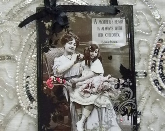 Mother's Day Mother's Heart Mother and Daughter German Proverb Decorative Plaque
