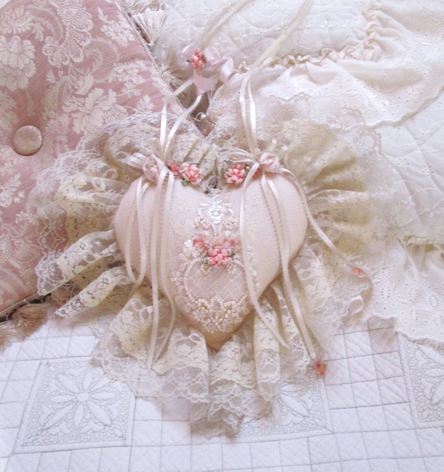 Shabby Chic Heart Pillows : lace heart victorian shabby chic heart wedding shower bridal