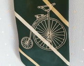 Vintage bicycle embroidered on recycled dark green striped necktie
