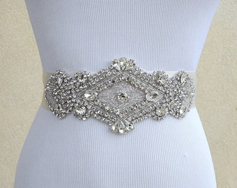 Bridal Sash Belt Wedding Dress Sash Belt Rhinestone Wedding Sash Belt Rhinestone Sash Belt Ivory Ribbon SA025LX