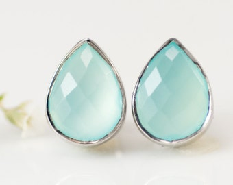 Aqua Blue Chalcedony Stud Earrings - Studs -  Post Earrings - Silver Studs - Gemstone Studs - Sea foam Green Studs