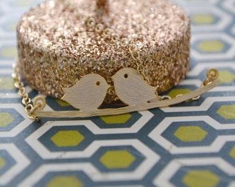 Love Bird Pendant 14K Gold Filled Chain, Gift Under 30
