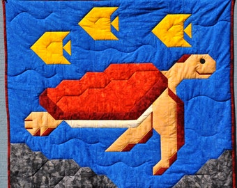 Sea Turtle Quilt Pattern in Wall, Crib and Lap Sizes emailed in PDF format