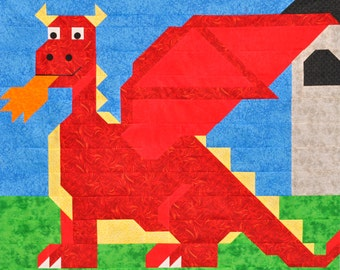 Dragon quilt pattern with multiple sizes