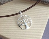 Silver tree of life pendant necklace, minimalist jewelry, simple jewelry, mens or womens jewelry,