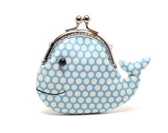 Cute cerulean blue whale clutch purse