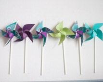 Peacock Wedding favor Pinwheels Jewel Tones -12 Mini Pinwheels (Custom orders welcomed)