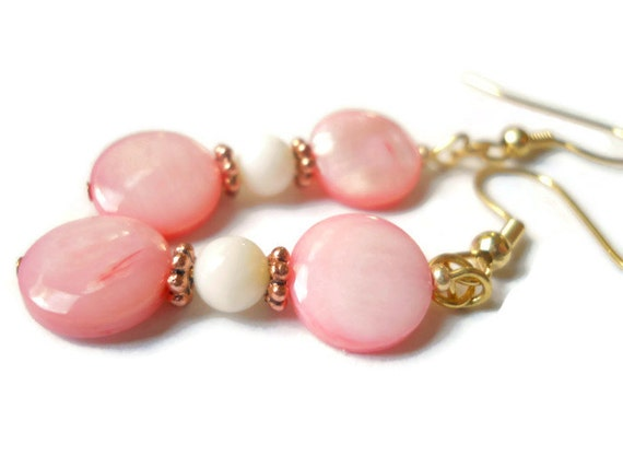 pink shell earrings of pearl bridal wedding
