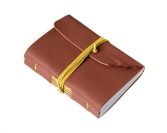 hand sewn leather journal, leather notebook, travel journal, travel notebook, leather diary, hand bound blank book dusty red yellow