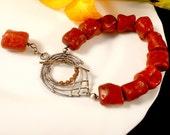Natural Red Coral Bracelat - Silver Wire Wrapped Bracelet - Handmade Toggle Clasp Bracelet - Coral Root Bracelet -  Boho Style Bracelet