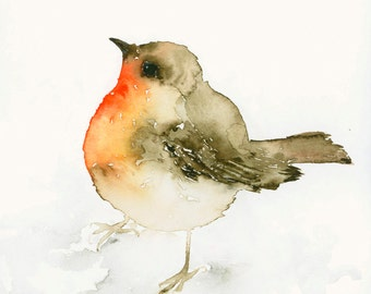 Bird Art Print from Original Watercolor Robin Redbreast