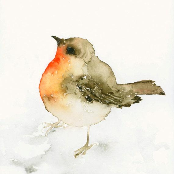 Bird Art Print From Original Watercolor Robin Redbreast