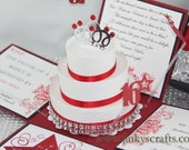Red & Black Exploding Box Invitations w/ 3-Tier Cake -Sweet Sixteen