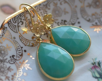 Green Earrings  Flowers Delicate Gold Vermeil Weddings Brides Bridesmaids Graduation Prom  Black Tie BlueChalcedony