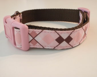 Pink and Brown Argyle Dog Collar