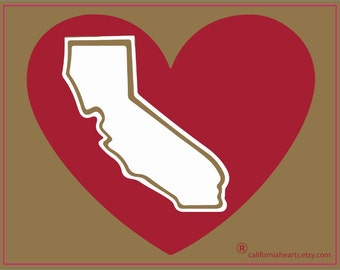 San Francisco 49ers Gold And Red California Heart Decal