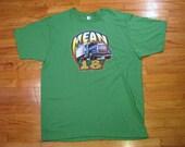 Vintage 70's Big Rig Mean 18 Trucker T-Shirt Heat Transfer 1979 XL Green Glitter