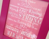 I Believe Sign - Poster - Audrey Hepburn - Inspirational Frameable Art - Breast Cancer Awareness Pink