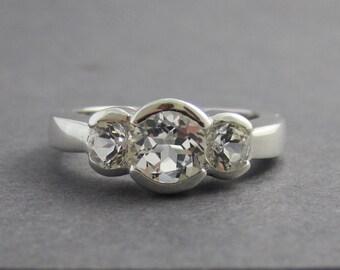 Sterling Silver white Topaz three stone ring