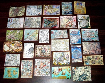 Medieval Maps Collection, Dollhouse Miniatures 1/12 Scale, Hand Made in the USA
