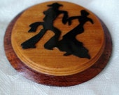 Silhouette Dancing Duo, Layered Wooden Handcrafted Brooch, Featuring Black Silhouette Dancing Partners, OOAK, Country Western