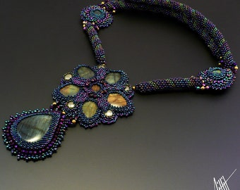 Beadwork, bead emroidery, beaded, floral necklace 'MOOLEY' with labradorite, pyrite and hematite