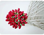 Mulberry paper Large Red Rose Buds flower / pack