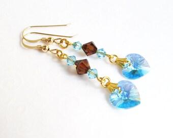 Aqua Blue Heart Earrings, March Birthstone Jewelry, Swarovski Aquamarine and Topaz Crystal Heart Earrings, Aqua Blue Jewelry