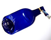 Flat bottle ~ bottle spoon rest,  blue glass cheese board, melted bottle, last minute gifts Gift for drinkers, foodies, cheese lovers, cooks
