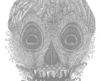Metallic Silver Feather Skull Limited Edition Screen Print by illustrator Izzie Klingels