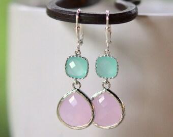 Soft Pink Bridesmaid and Aqua Jewel Earrings in Silver.  Wedding Jewelry.  Bridesmaid Jewelry. Gift.  Drop Earrings. Dangle Earrings.