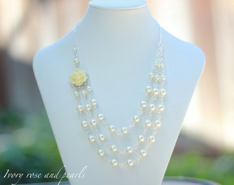 Triple Strand Swarovski Pearl Rose Necklace in Antique Brass, Silver, or Gold. Bridal Statement Necklace. Other Colors Available.