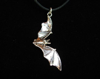 Flying Bat Necklace or Pendant in Sterling Silver Jewelry Bat Jewelry