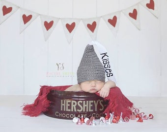 Crochet Baby Hat Hershey Kiss Hat Newborn Photo Prop Infant Photography Prop Newborn to 3 mo