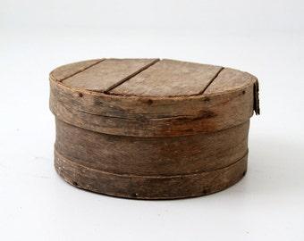 antique cheese box, rustic wood storage box, decorative wooden box