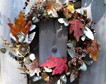 Winter Solstice, Forest Gems dried-silk wreath, eucalyptus base with copper, gold, bronze leaves, cones, berries, seed pods, posh woodland