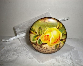 Pocket Mirror Yellow Rose Flower 2 1/4 inch