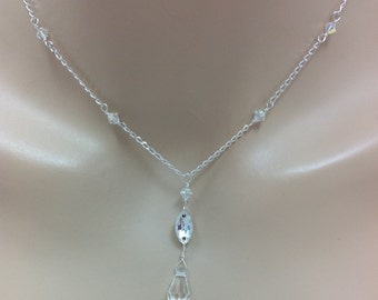 Swarovski Crystal Bridal Y Drop Teardrop Pendant Necklace, The Penni