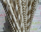 75 Gold Party Straw Combo in Candy Stripe, Chevron and Star Designs, Gold Wedding Straws, Gold Straws with DIY Flag Template - (25) each