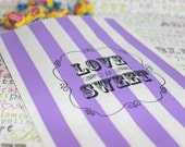 Personalized Candy Bags, Purple Stripe Party Bags, LOVE IS SWEET Favor Bags, Wedding Candy Bags, Popcorn Bags, Purple Candy Bags - Set of 50