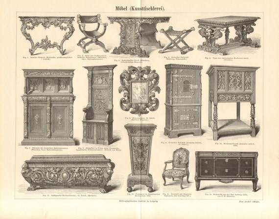 1890 meubles rococo renaissance gothique et style louis xv. Black Bedroom Furniture Sets. Home Design Ideas