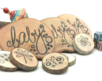 Rustic Baby Shower Favors 10 pcs || Reclaimed Branch Table Markers || Woodland Decor Arts Crafts Tags Magnets Business Card Table Decor