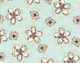 Cotton Fabric - Blossom Sprinkle on Sky - Julia's Notes by Peggy Brown - Floral - 3 yards